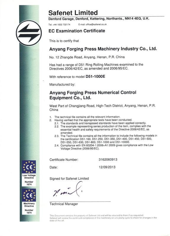 辗环机CE证书