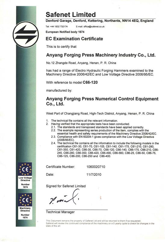 电液锤CE证书
